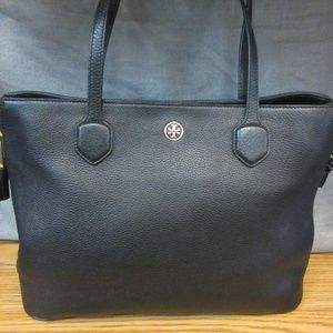 AUTHENTIC BLACK  LEATHER TORY BURCH TOTE